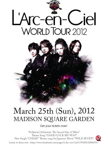 L'Arc En Ciel NYC Concert promotional poster