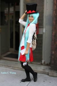 "Hatsune Miku cosplayer outside at the ""Magical Mirai 2013"" screening."