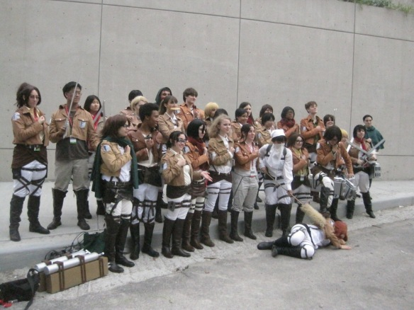 Attack on Titan cosplay group outside New York Comic-Con 2013.
