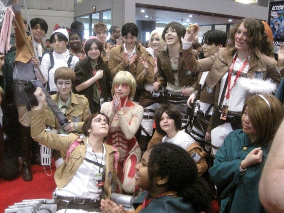 """""""Attack on Titan"""" cosplay group on the last day of NYCC 2013."""