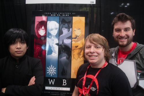 Monty Oum, Miles Luna, and Kerry Shawcross, creators of RWBY at NYCC 2013.