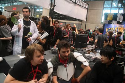RWBY staff at NYCC 2013 booth.