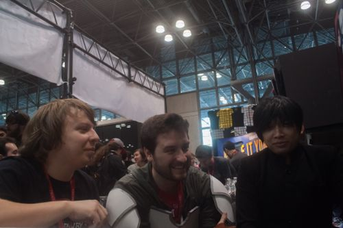 Monty, Miles, and Luna laughing at NYCC booth.